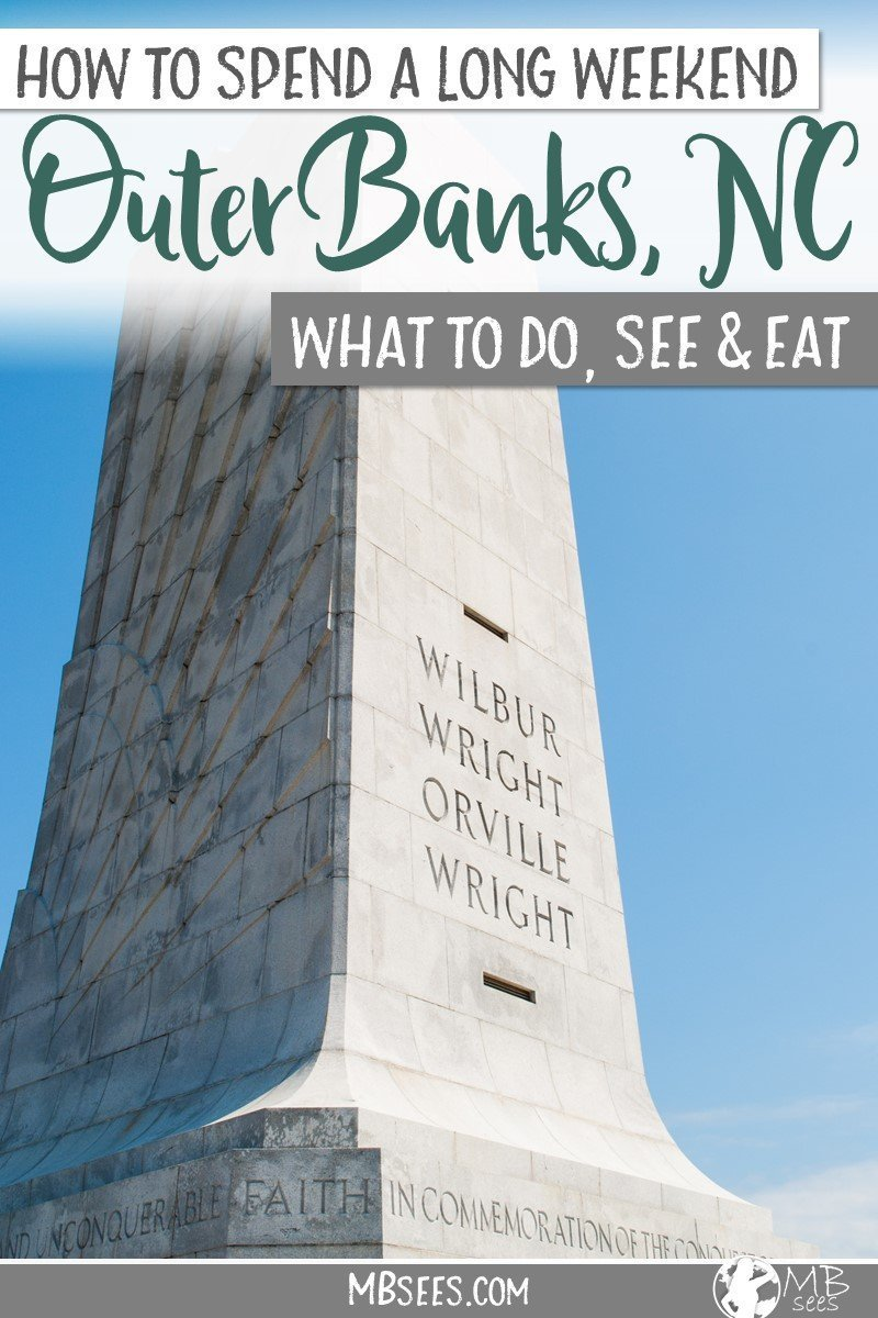 Looking for things to do in the Outer Banks, North Carolina? Save this Outer Banks vacation itinerary, including things to do in Kill Devil Hills, NC, and what to do in Nags Head, too! We also show you where to stay in Kill Devil Hills and where to eat in Kitty Hawk. Pin this Outer Banks travel guide for later! #OBX #OuterBanks #NorthCarolina #OuterBankstravel #KillDevilHills #NagsHead #KittyHawk