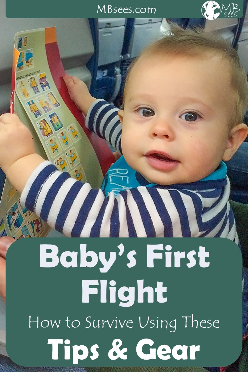 Flying with a baby for the first time? Here are our tips for flying with a baby (and general tips for traveling with a baby), including all the gear you need for baby's first flight. With a little preparation, air travel with baby is totally doable. Pin this for later to help plan your trip! #travelwithbaby #travelwithkids #travelproducts #kidstravelproducts #babytravelproducts #traveltips